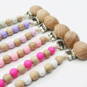 BPA-Free-Silicone-Wood-Round-Beads-Nipple-Clip-Baby-Teething-Pacifier-Chain-Clip