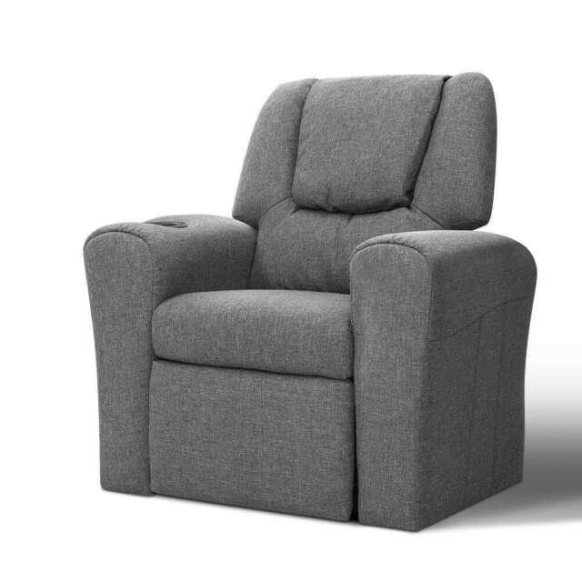 Keezi Kids Recliner Chair Grey Linen Soft Sofa Lounge Couch Children Armchair