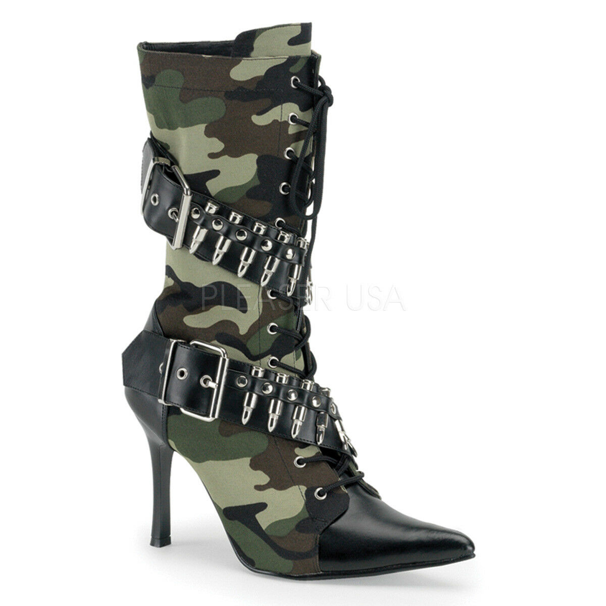 PLEASER FUNTASMA Militant-128 Camouflage Military Cosplay Mid Calf Boots