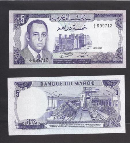 Morocco p-56 UNC 5 Dirhams REPLACEMENT Prefix Z//4 1970
