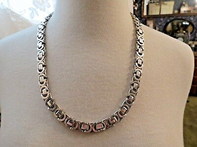"Sterling Silver Chain Necklace Italy 23.5"" Long 118 Grams Mariner 10mm Wide Open"