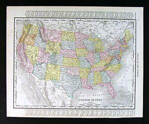 Rand Mcnally Map Of Florida.1911 Rand Mcnally Map United States Texas Colorado Florida
