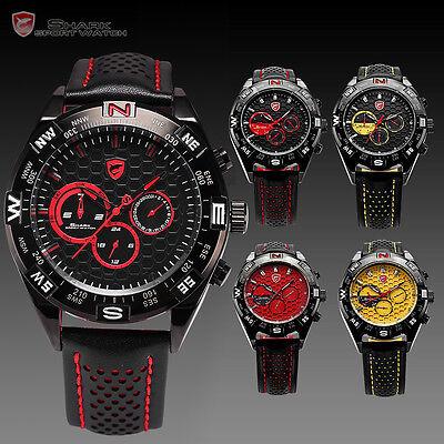 Shark Luxury Men Military 6 Hands Date Day Sport Quartz Leather Army Wrist Watch