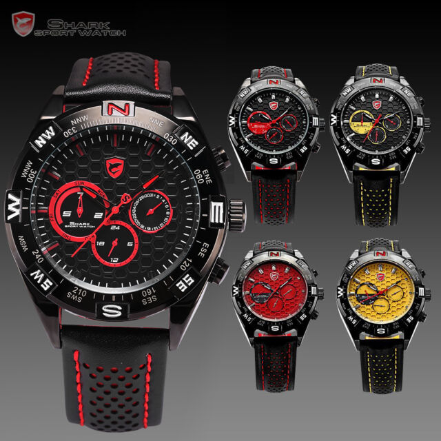 Shark Luxury Men Military 6 Hands Date Day Sport Quartz Leather Army Wrist Watch