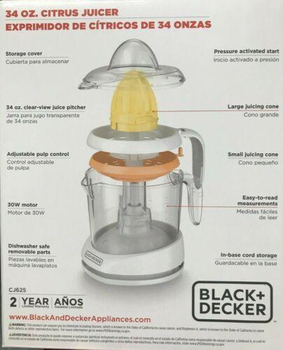 Black CJ625-34oz Citrus Juicer with Adjustable Pulp Control Decker White