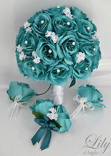 17 Piece Package Silk Flower Wedding Bridal Bouquets Bride TEAL EMERALD WHITE