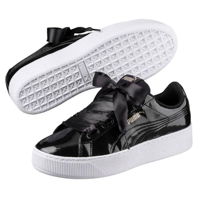071e73fdf6c Puma Vikky Plate-Forme Ruban P Baskets Chaussures Femmes 366419 01 Black