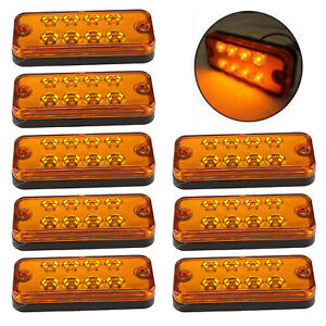8X-ORANGE-MARKER-SIDE-LED-TRAILER-TRUCK-RECOVERY-POSITION-LIGHTS-LAMPS-12V-24V