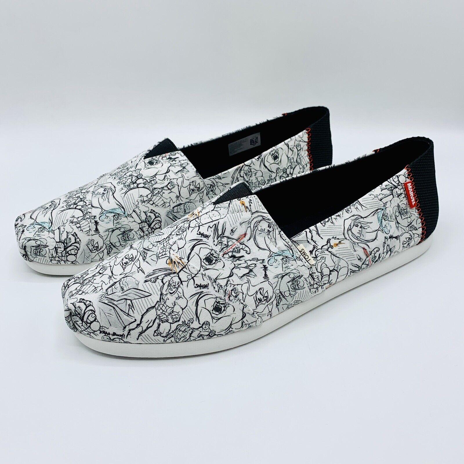 NEW! Toms x Marvel Concept Art Print Slip-On Alpargata Shoe. Men's Size 10.5.