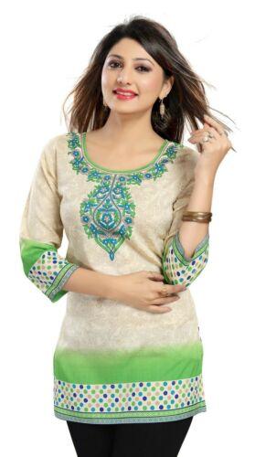 Women Indian Short Kurti Printed 3//4 Sleeves Tunic Kurta Shirt Dress MI515 GREEN