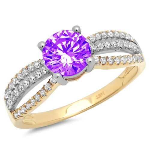 Details about  /1.25 ct Round Cut Natural Amethyst Promise Bridal Wedding Ring 14k 2 tone Gold