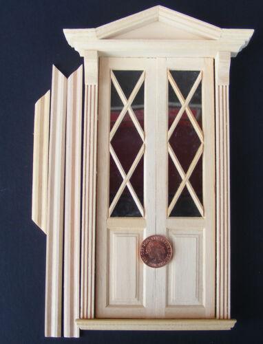 Escala 1:12 Marco De Madera Doble Victoriano Puerta y tumdee Casa De Muñecas Accesorio 69