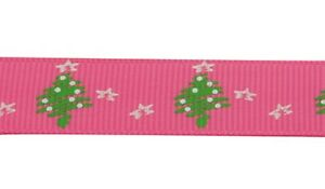 Grosgrain Christmas Tree and Star Ribbon , Hot Pink , app. 10mm x 5yrds