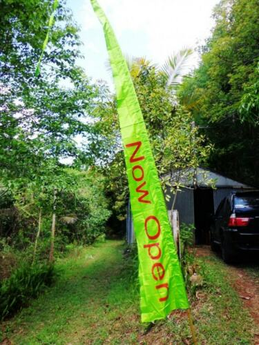 Large Now Open Bali Style Flag 5 mtr tall with Fibreglass Pole
