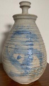 Vintage-Stoneware-Vase-Jug-Vessel-Urn-Mid-Century-Modern-Studio-Pottery-Deyoe-D