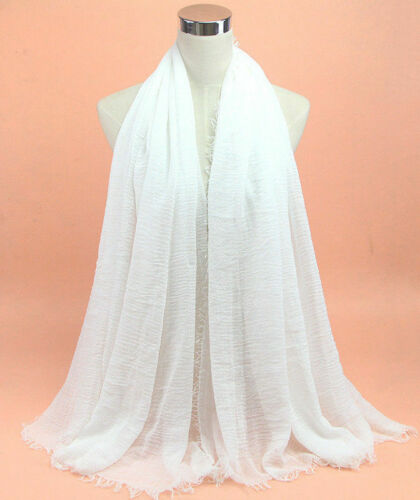 New Style Plain Hijab Maxi Scarf Headscarf Crimp Habiba Shawl Ruffle Crinkle