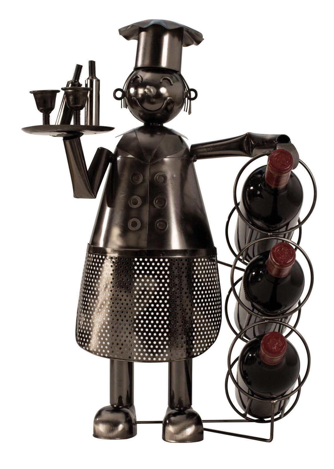 Esclusivo Portabottiglia Cuoco in Metallo Altezza 53cm Larghezza 36cm