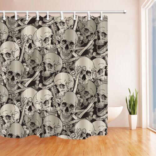 Hand Painting Skull Heads Bone Fabric Shower Curtain Set Bathroom Decor 71Inch