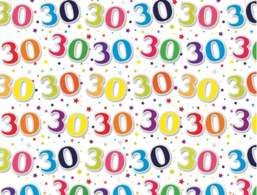 2 Sheets Age 30 30th Birthday Wrapping Paper Sheet Birthday Party Gift Wrap