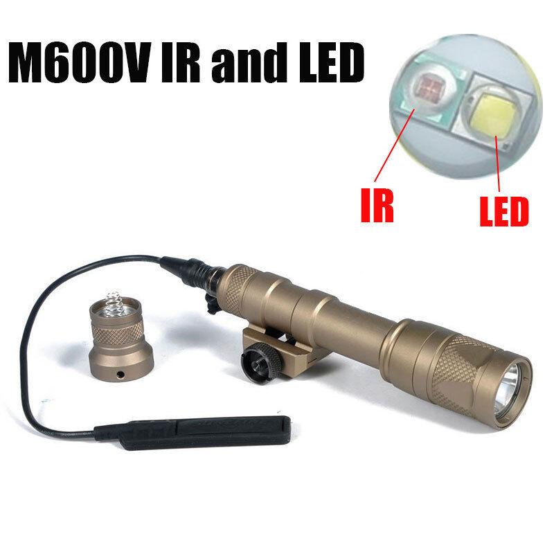 M600V-IR Luz LED blancoo Luz Scout e ir de salida de luz de arma de salida de infrarrojos