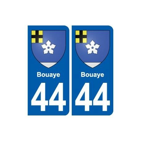 44 Bouaye autocollant plaque stickers ville -  Angles : arrondis