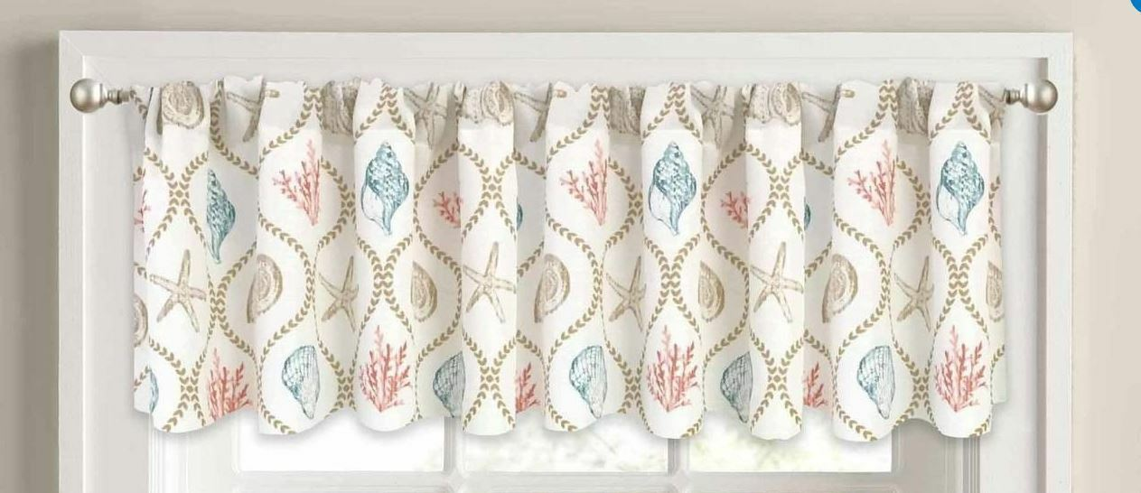 Nautical Seashell Elites Window Valance, Coastal Design