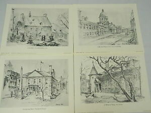 Lot-Of-10-Norman-Kirk-Prints-Portfolio-Old-Montreal-Wolfe-Press-8-5-by-11-Inch