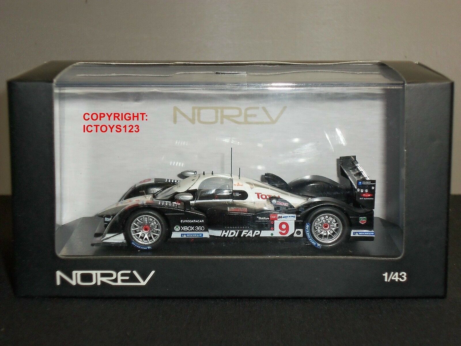 NOREV 472724 PEUGEOT 908 LE MANS 2008 NO.9 DIECAST MODEL FORMULA 1 RACING CAR