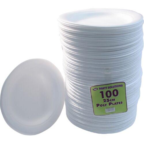 """100 x plaques de mousse blanche 25cm 10 /""""jetable restauration parties Fêtes fournitures alimentaire"""
