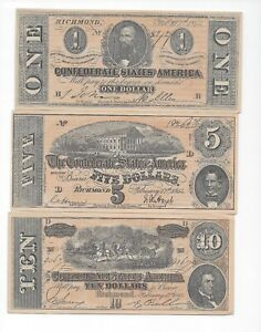 Confederate-States-Of-America-Currency-Reproduction-Richmond-1-5-10-20-50-100