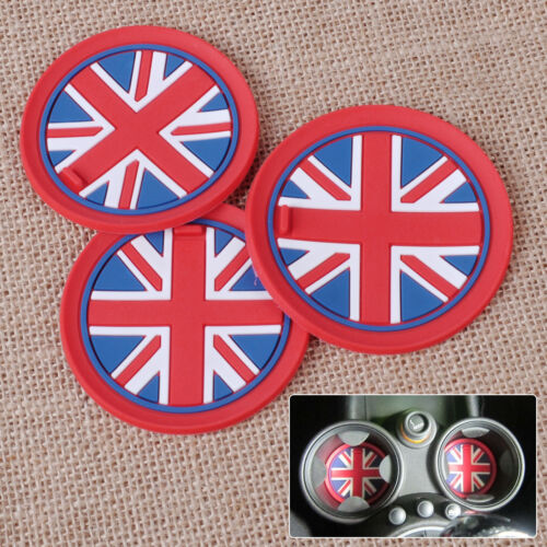 3pcs Anti-Slip Cup Mat Pad Red Union Jack Flag for Mini R55 R56 R57 R58 R59