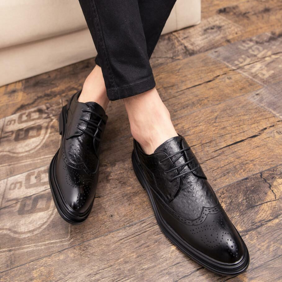 Mens Oxford shoes Leather Dress Formal Lace up Brogue Wing Tip Wedding shoes New