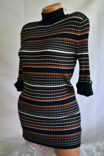 STYLE /& CO. S Rib Knit Top Soft Bodycon Mock Neck IND BLUE COMBO   MSRP $49.50