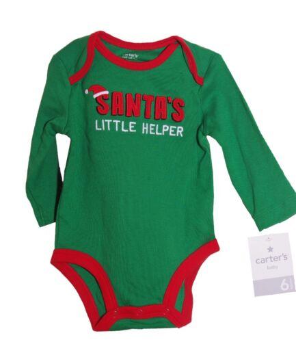 Carters Boy Santas Little Helper ELF Shirt 1 piece Christmas NB 3 6 9 months NEW