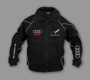 Neu-Herren-Sport-Audi-Quattro-Fleece-Jacke-Fan-Bekleidung-mit-Stickerei