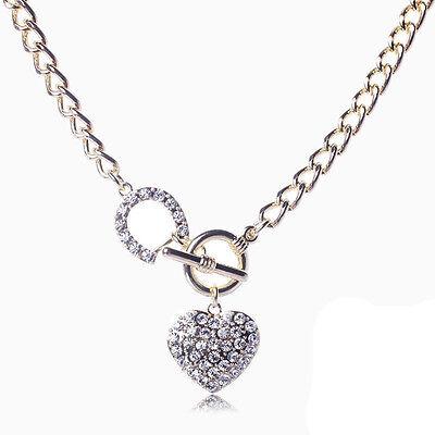 Fashion Crystal  Heart Charm Pendant Jewelry Choker Statement Bib Necklace Chain