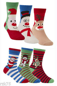 03b8066e2c3 Image is loading Pack-Of-6-Kids-Christmas-Socks-Children-039-