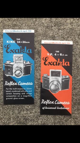 1939 Exakta Brochures Kine Vp Caméra Nuit, B C Zeiss Hugo Meyer Verre Prix Liste
