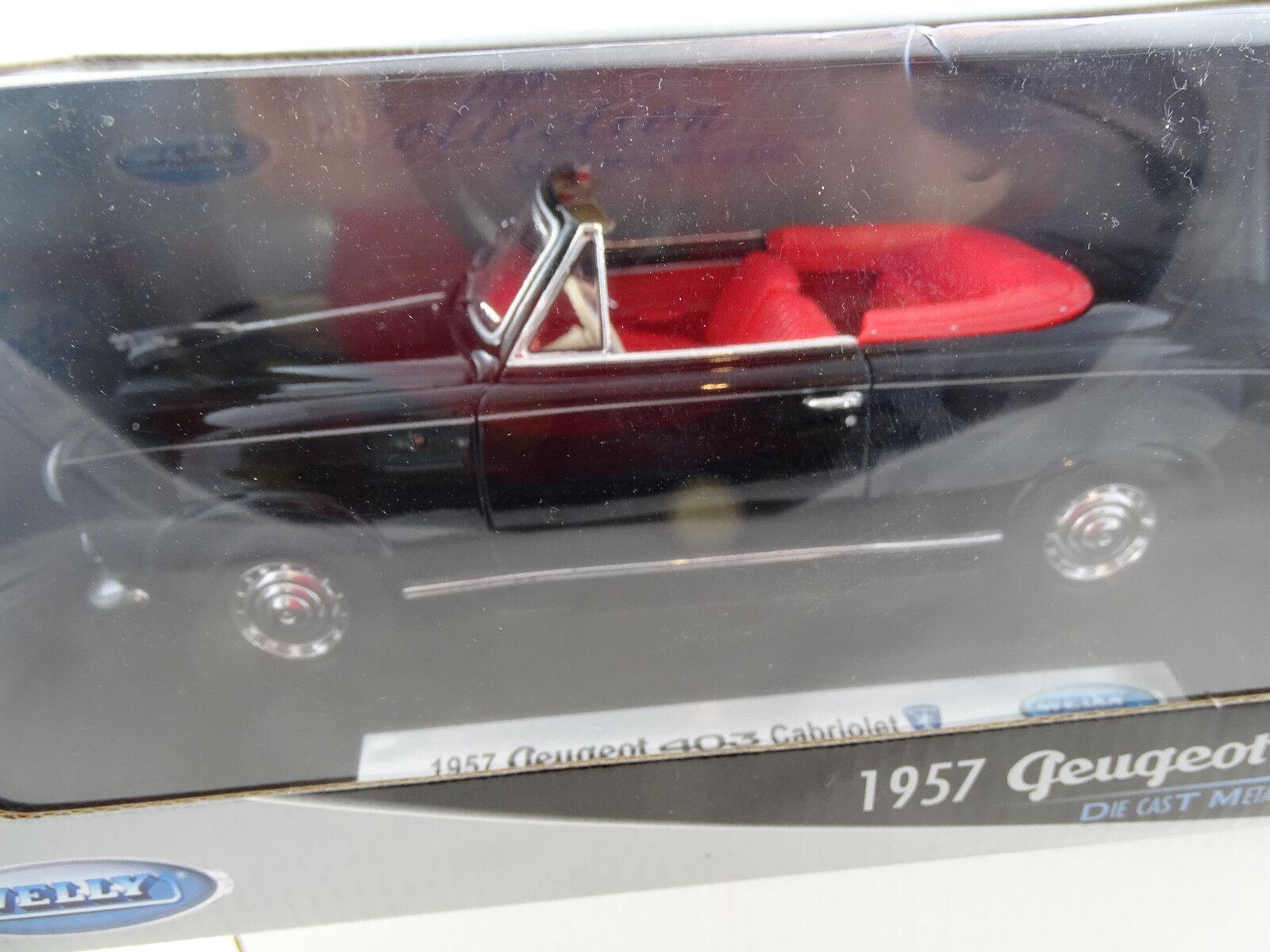 1 18 Welly  12551w 1957 peugeot 403 cabriolet negro rareza