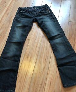 Antique-Rivet-Brand-Women-039-s-Jeans-Size-27-Black-Distressed-Embellished-Boot-Cut