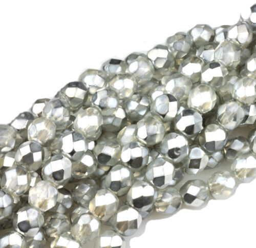 50 Silver Chrome /& Crystal Metallic Fire polished Glass Beads 6MM LIMITED