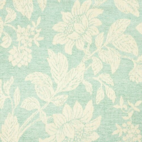 Designer Curtain Duck Egg Blue Off white floral Linen Blend Blind Cushion blind