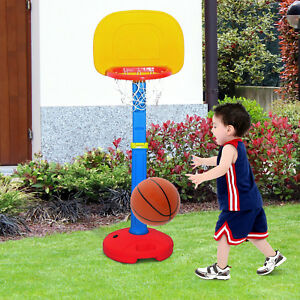 Canasta-Baloncesto-Juego-Infantil-con-Soporte-Tablero-Altura-Ajustable-120-155cm