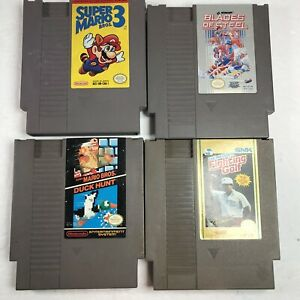 Lot-of-4-Super-Mario-Bros-3-Golf-Hockey-Duck-Nintendo-NES-Tested-Working