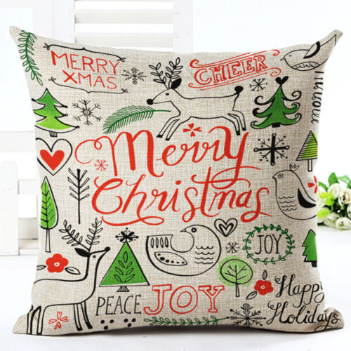 45x45cm Frohe Weihnachten Santa Claus Kissenhülle Kissenbezug Dekokissen
