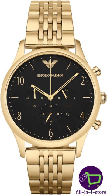 Emporio Armani AR1893 Herren Uhr Armband Chronograph Edelstahl Gold Schwarz Neu