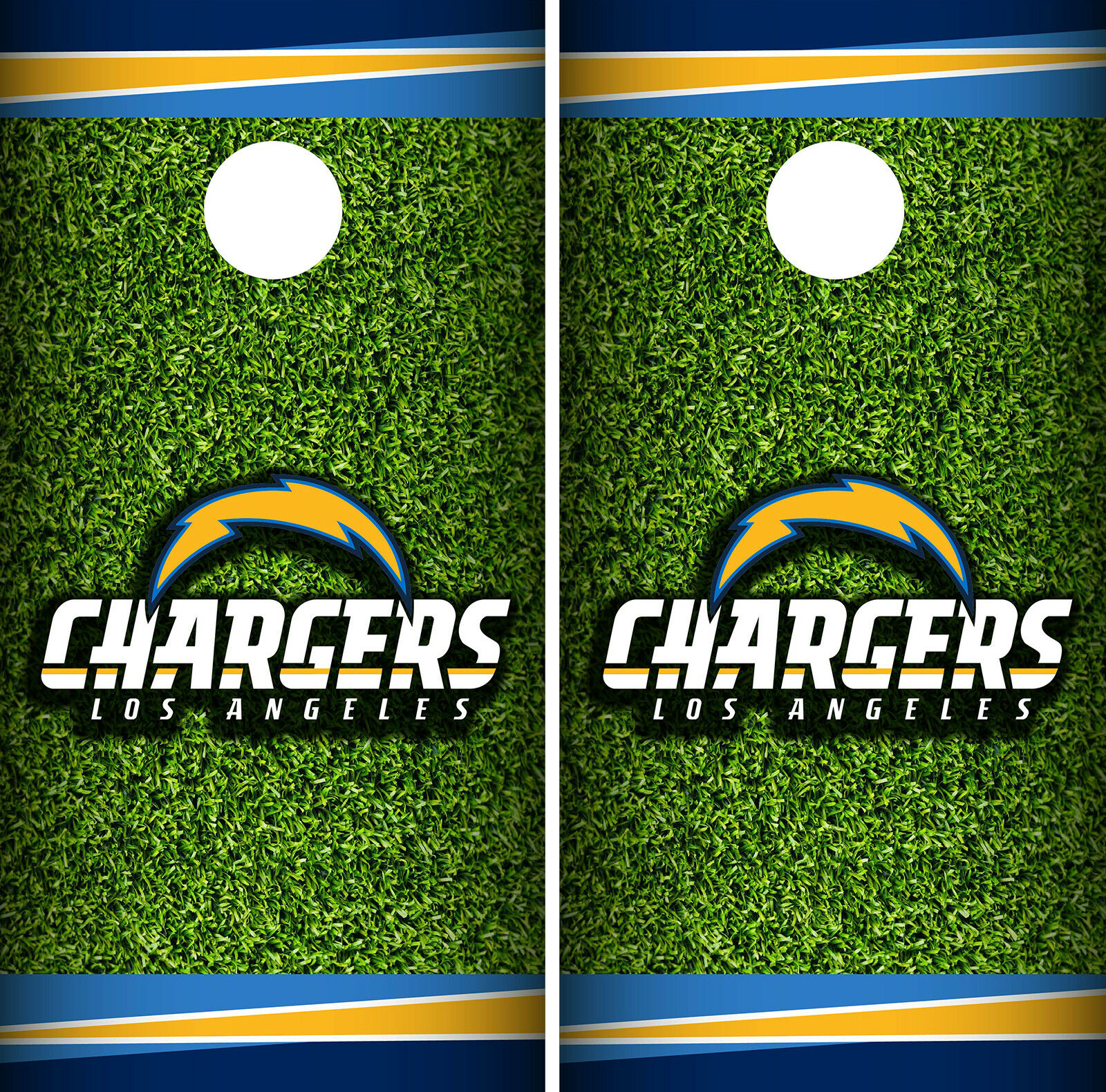 Los Angeles Chargers Field Cornhole Wrap Skin Game Board Set Vinyl Decal CO17