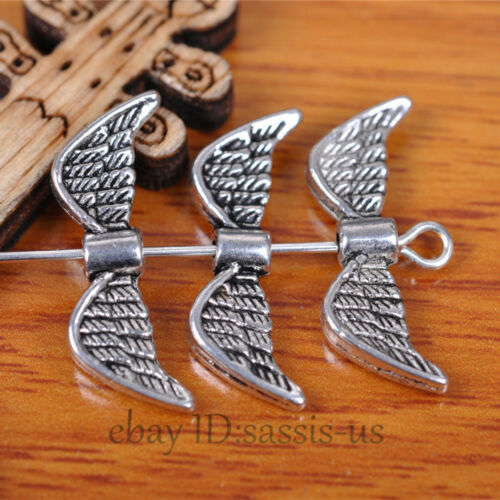 50 Pieces 21*8mm Angel Wing perles spacer end Tibetan Silver À faire soi-même Bijoux A7401