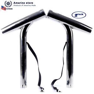 PAIR Sliler Highly Polished Stainless Steel Outrigger Stylish Rod Holder -EAM