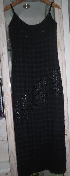 Vestido fiesta, graduación,boda etc. negro con lentejuelas T. 40